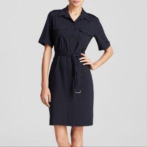 Theory Stenna Seasons Belted Stretch Shirt Dress